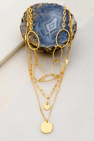 Three Chain Hoop Necklace
