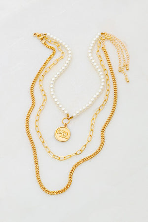 Three Chain Coin Necklace