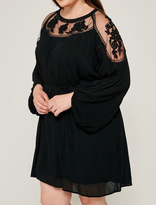 Lacey Belted Dress- Curvy