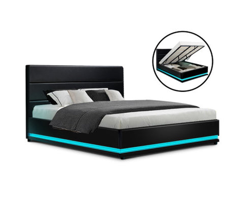 leather bed frame with gas lift