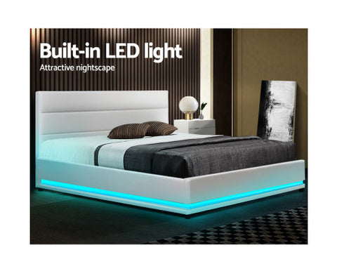 leather bed with LED lighting