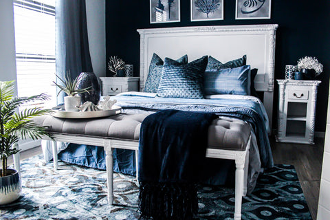 white bed with dark furniture, french style white bed
