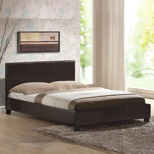 Mondeo Brown Leather Bedframe Double - Evopia