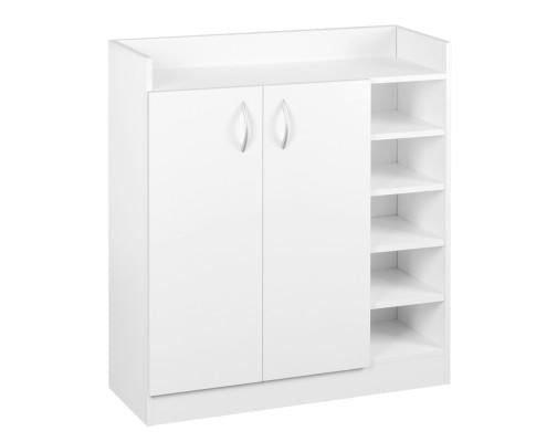 2 Doors Shoe Storage Cabinet Cupboard White - Evopia