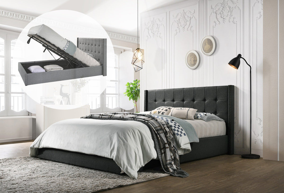 King Sized Winged Fabric Bed Frame with Gas Lift Storage in Charcoal - Evopia
