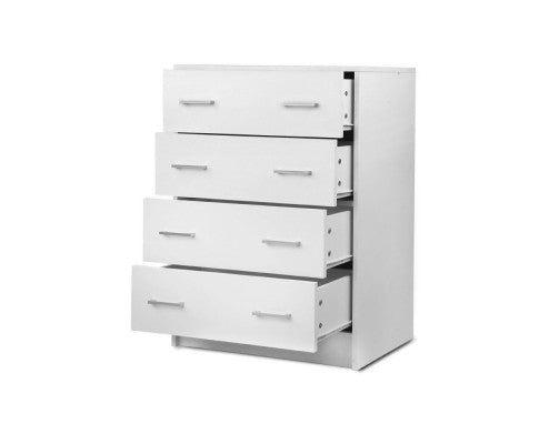 Tallboy 4 Drawers Storage Cabinet White - Evopia