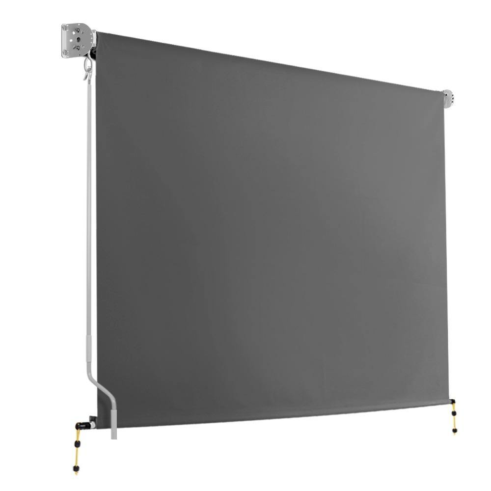 Instahut 3m x 2.5m Retractable Roll Down Awning - Grey - Evopia