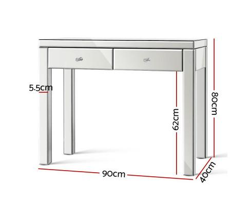 Artiss Mirrored Console Hallway Table Drawers - Evopia