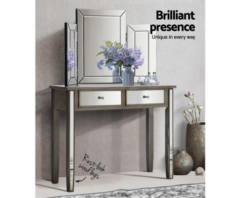 Artiss Mirrored Console Table Drawers Sideboard with flowers | Evopia.com.au