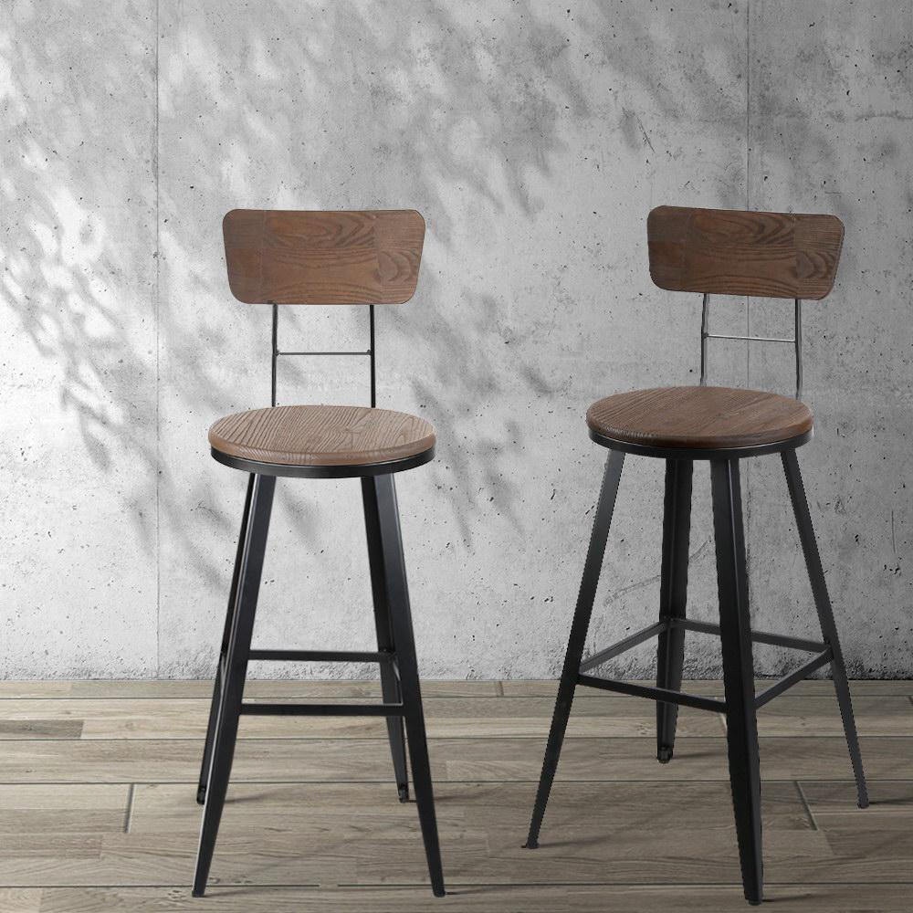 Artiss Industrial Swivel Bar Stool - Black - Evopia