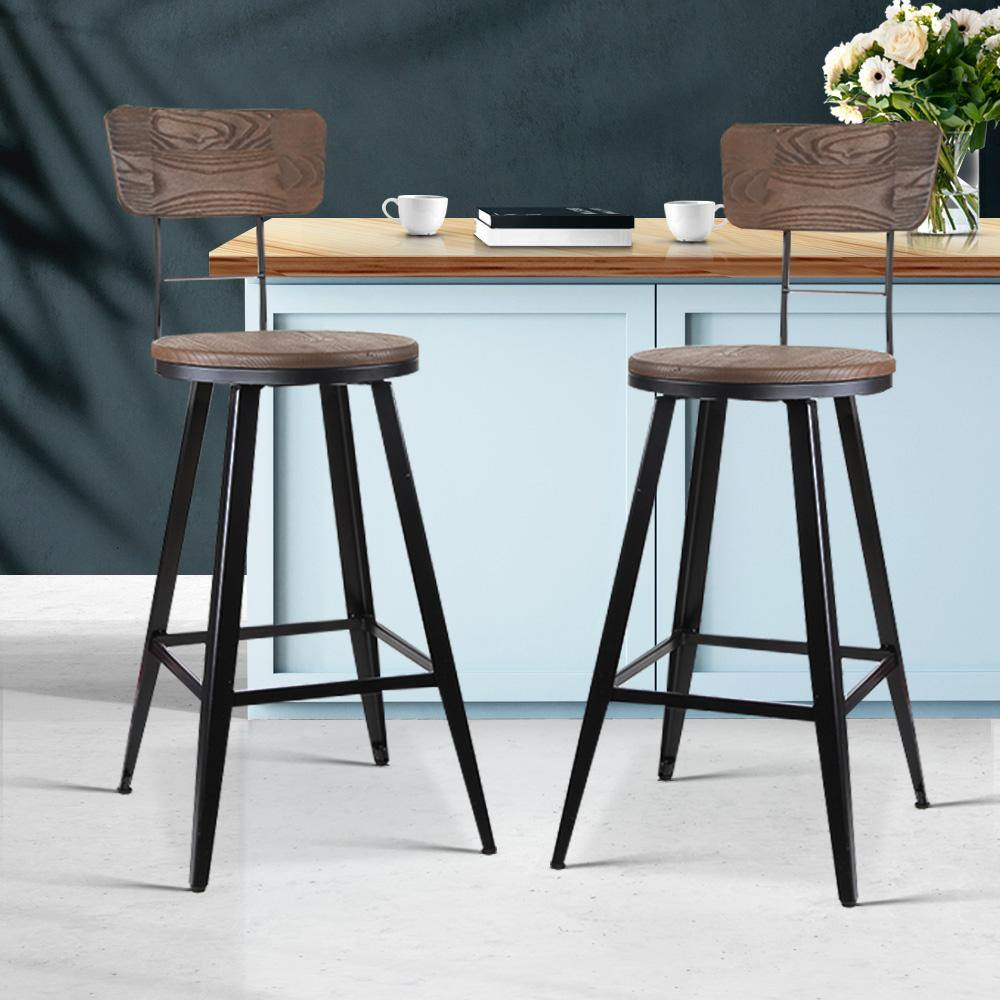 Artiss set of 2 Vintage Rustic Bar Stools Retro Swivel Bar Stool Industrial Chairs 66cm