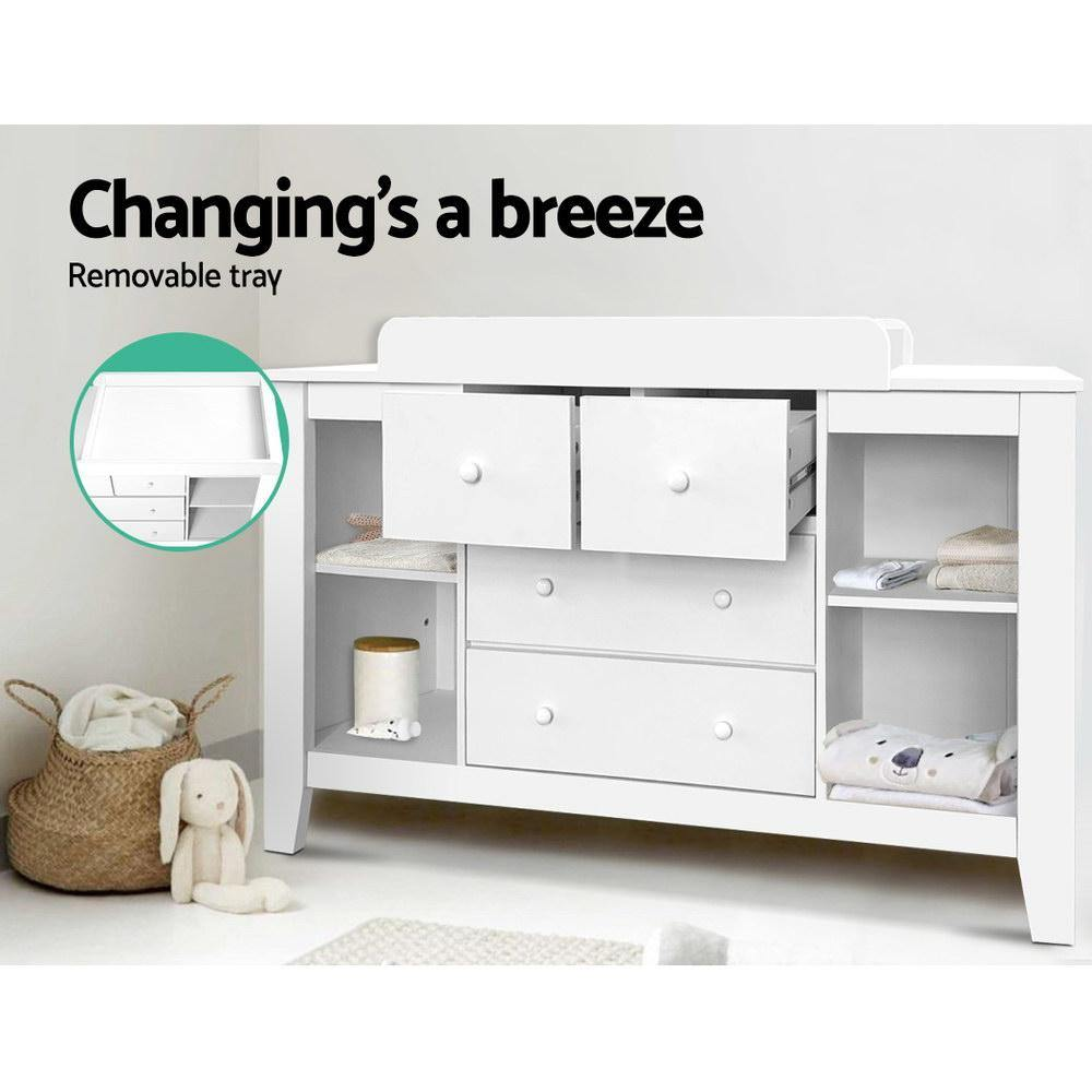 Keezi Change Table with Drawers White - Evopia