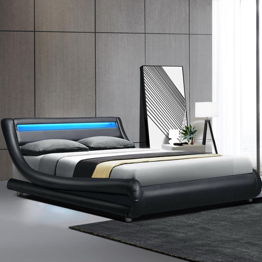 Alex LED Light Bed Frame in Black PU Leather - Queen