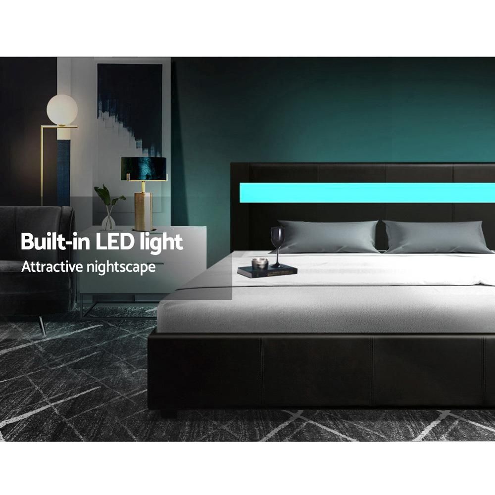 Artiss LED Cole Bed Frame Black with gas lift storage - Evopia
