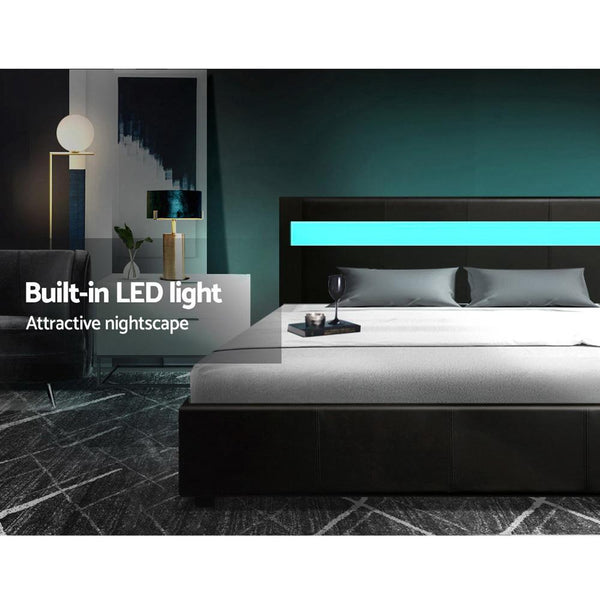Bed with LED lighting in black leather