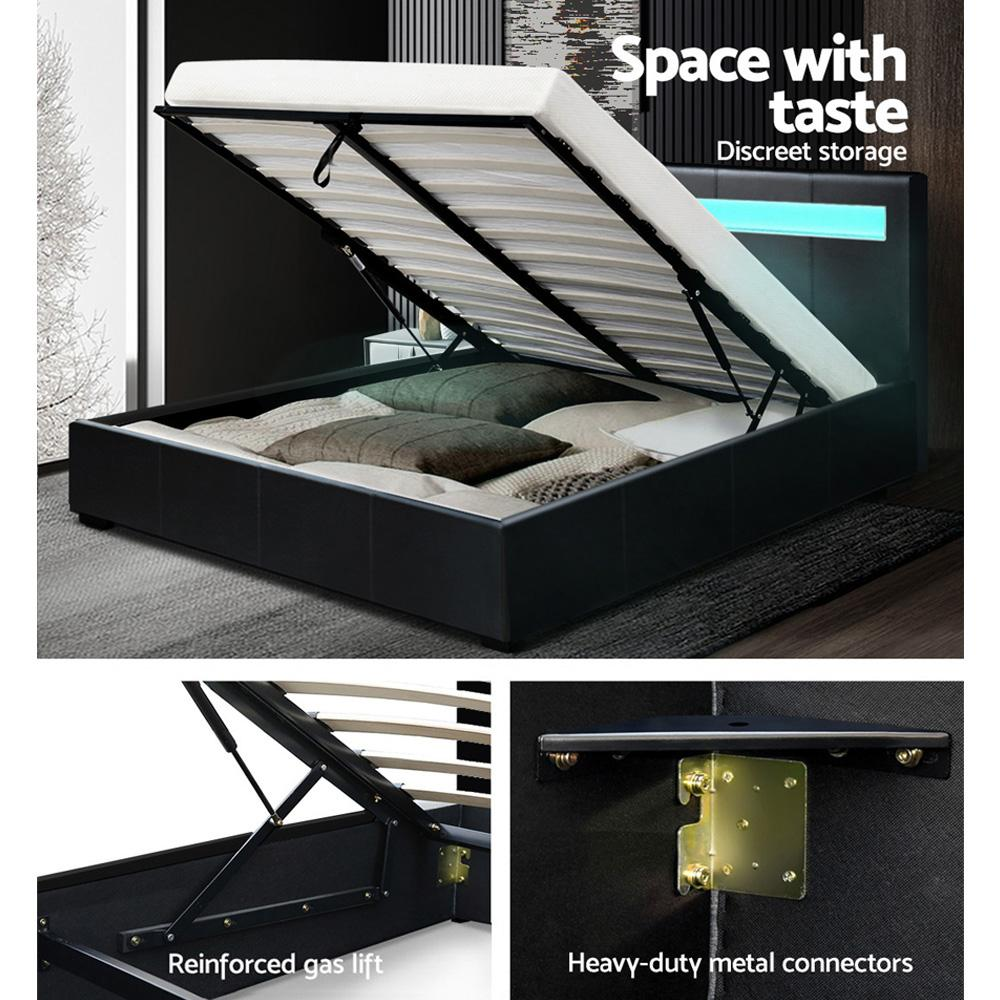 Artiss LED Lighting Cole Bed Frame Black with gas lift storage - Evopia