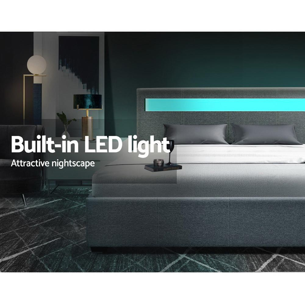 Artiss Cole Bed Frame with LED lights and storage - Evopia