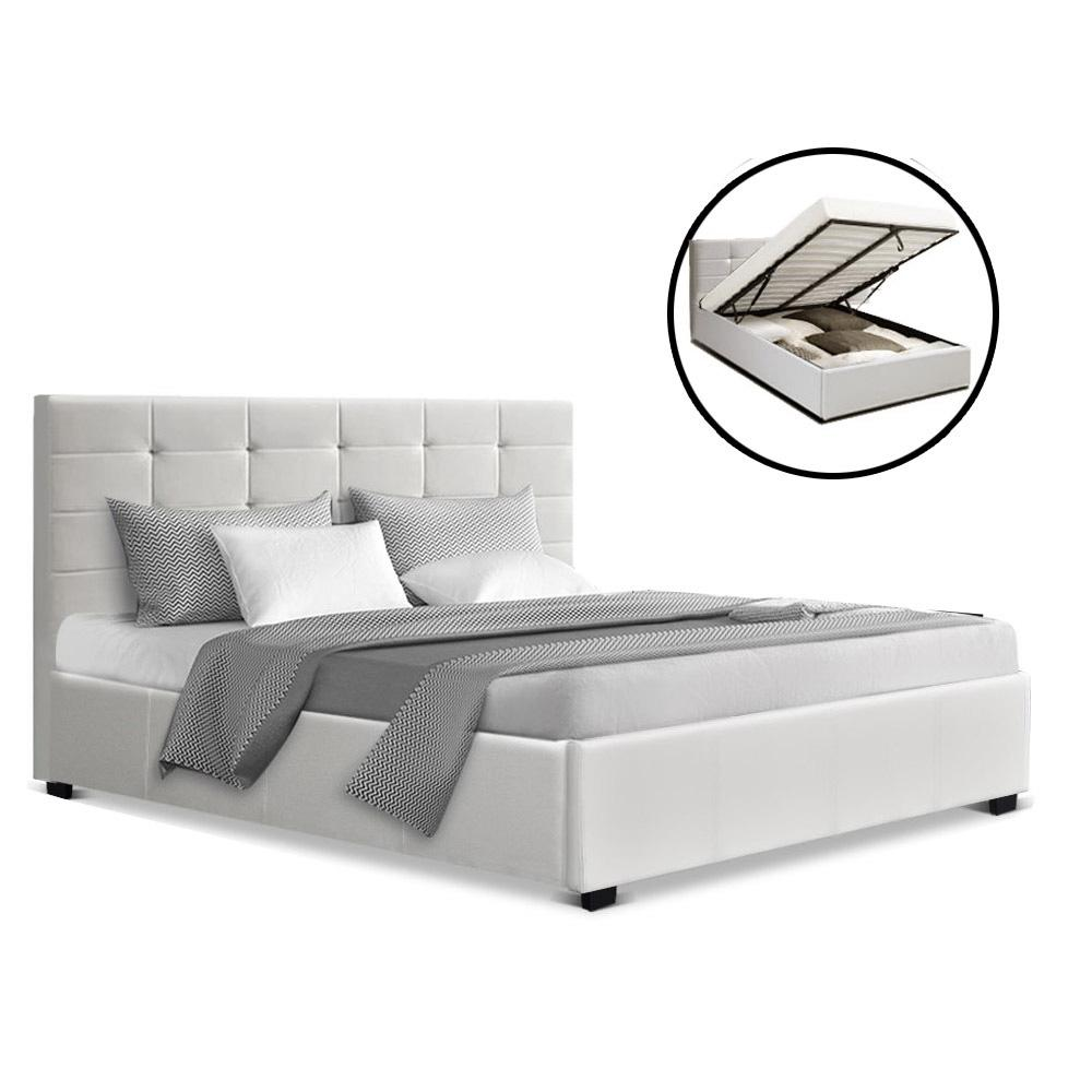 Artiss LISA Double Full Size Gas Lift Bed Frame Base With Storage Mattress White Leather - Evopia