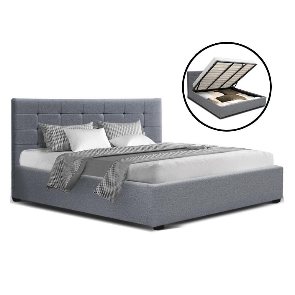 Artiss LISA King Size Gas Lift Bed Frame Base With Storage Mattress Grey Fabric - Evopia