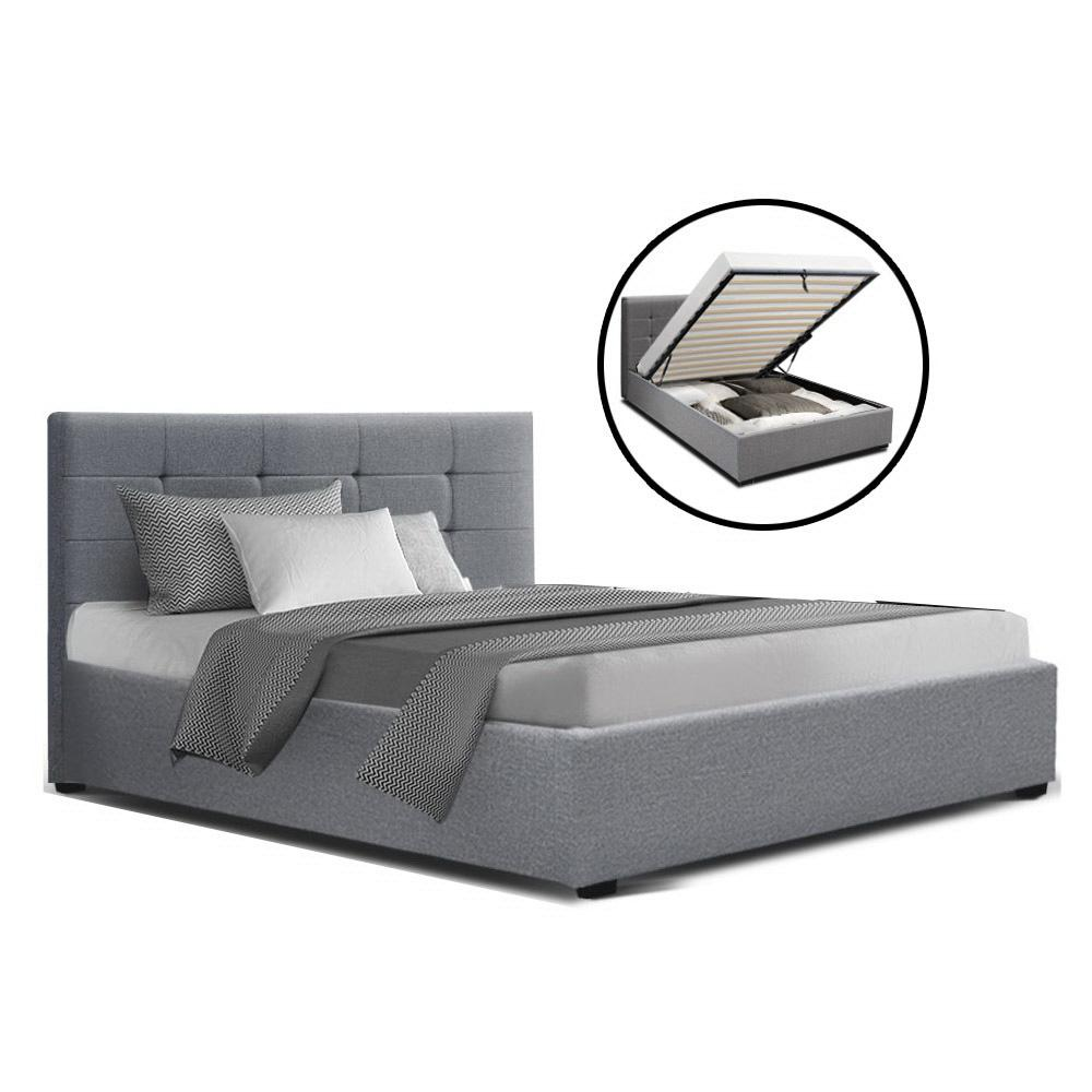 Artiss LISA King Single Size Gas Lift Bed Frame Base With Storage Mattress Grey Fabric - Evopia