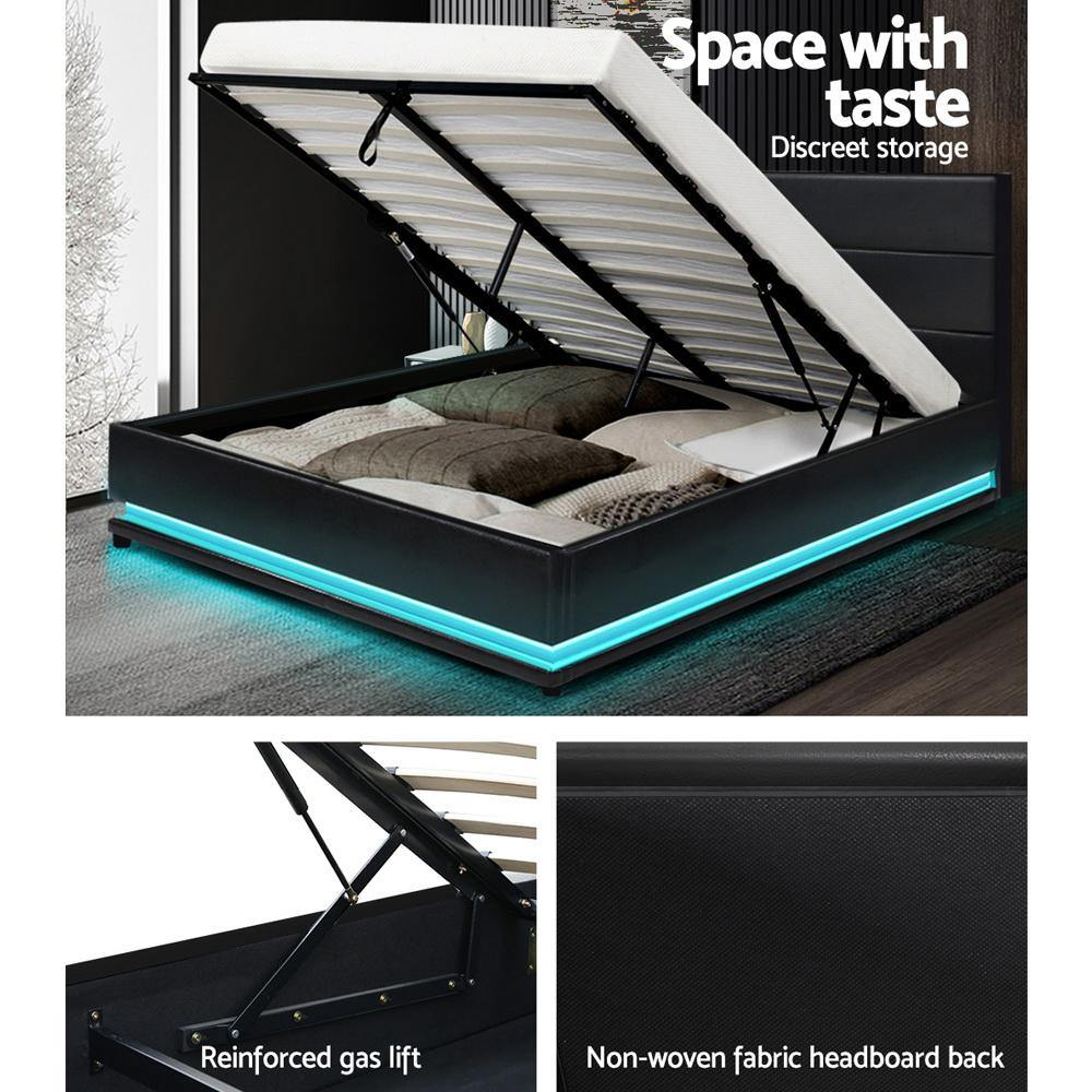 Artiss Lumi LED Light Bedframe in Black PU Leather- Double