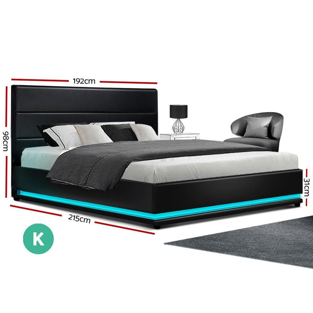 Artiss Lumi LED Light Bedframe in Black PU Leather-King