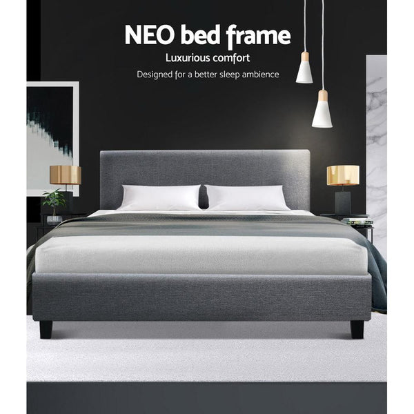Artiss Neo Bed Frame in Grey Linen Fabric - Evopia