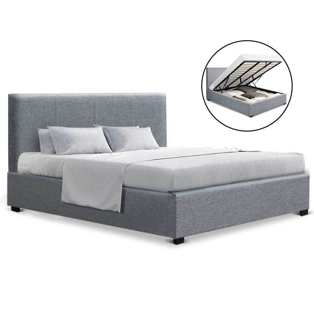 Artiss Nino King Gas Lift Bed - Grey Linen - Evopia