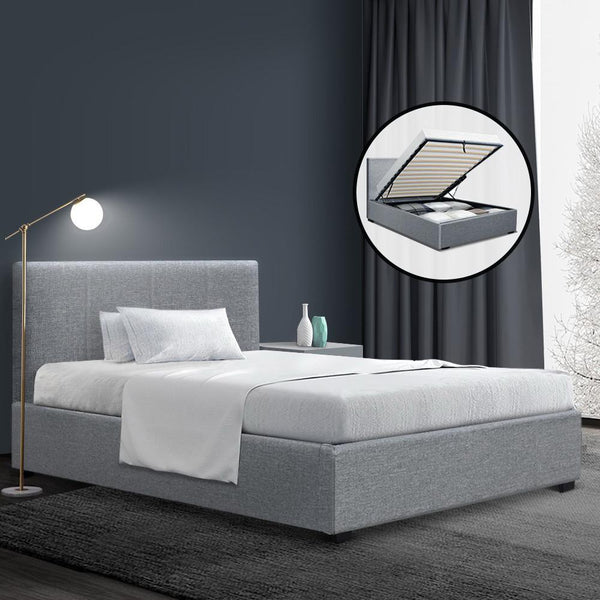 Artiss Nino King Single Gas Lift Bed - Grey Linen - Evopia