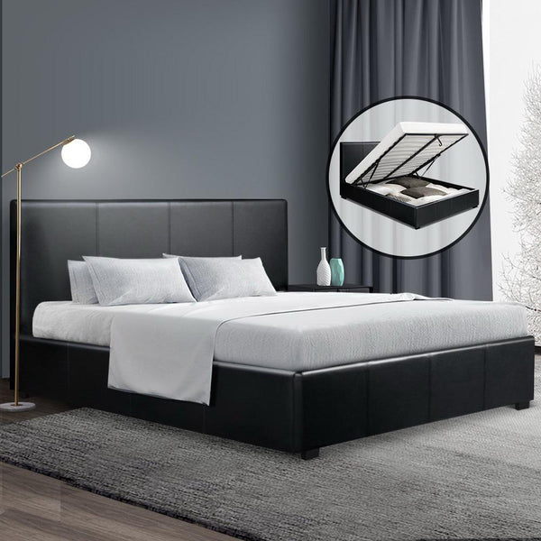 Artiss Nino Queen Gas Lift Bed - Black PU Leather - Evopia