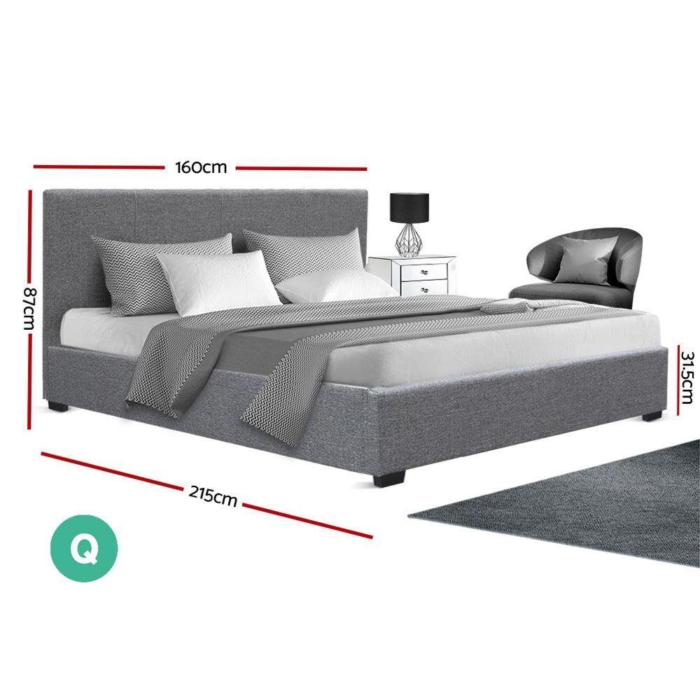 Artiss Nino Queen Gas Lift Bed - Grey Linen - Evopia