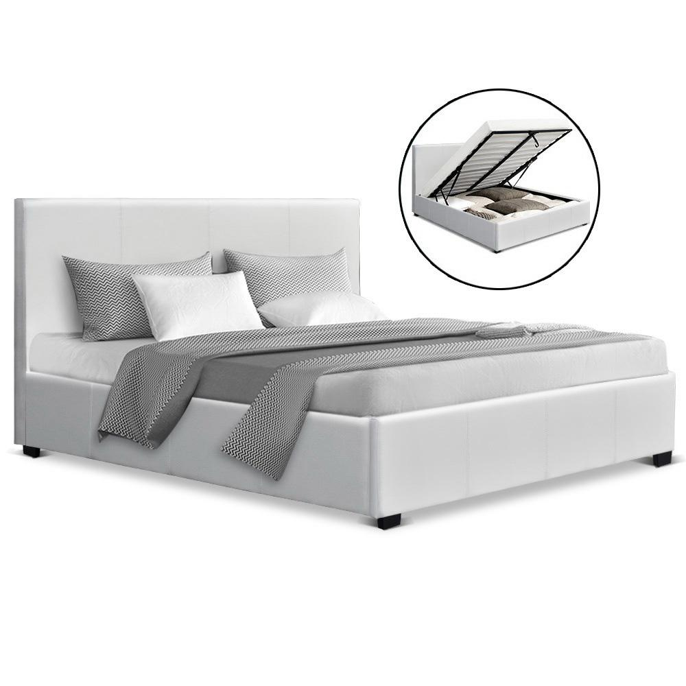 Artiss Nino Queen Gas Lift Bed - White PU Leather - Evopia