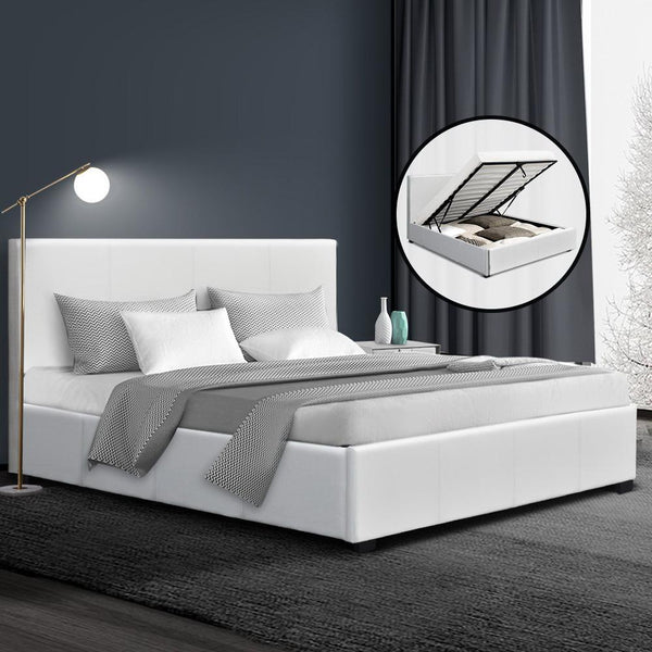 Queen gas lift storage bed in white PU leather
