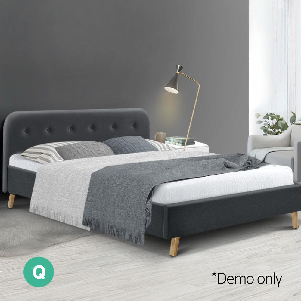Artiss Bed Frame Base Fabric Wooden Charcoal - Evopia