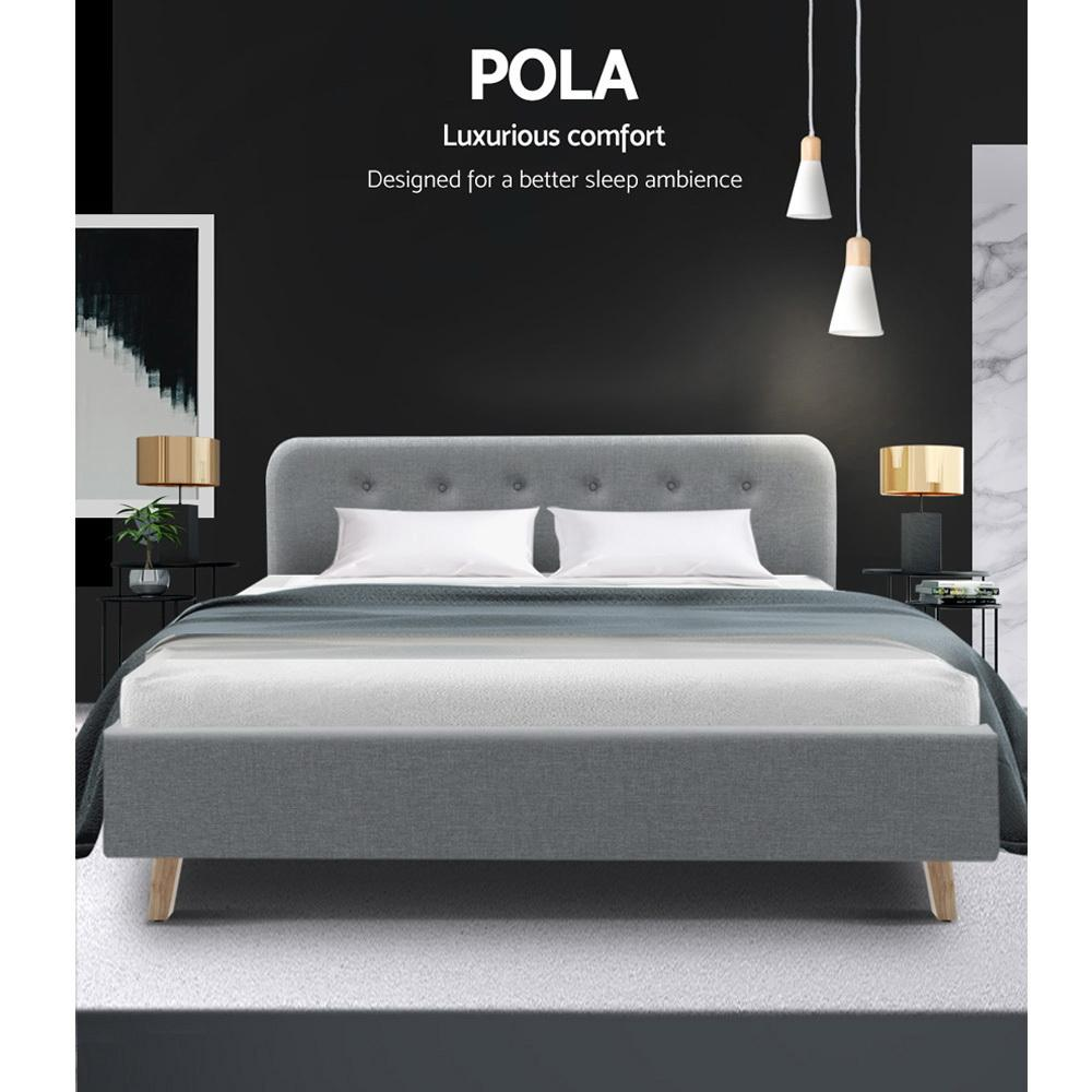 Artiss Pola Bed Frame Fabric Wooden Grey - Evopia