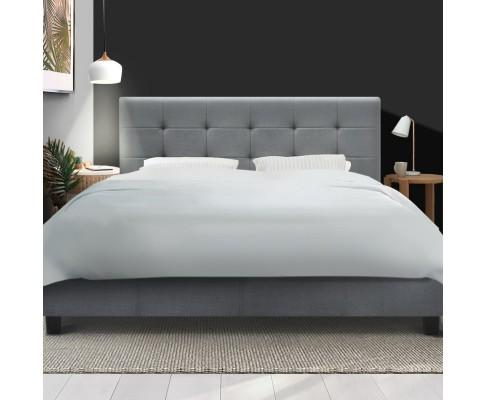 Grey Fabric Bed Frame Wooden by Artiss Soho - Evopia
