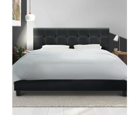 Artiss Soho Charcoal Fabric Bed Frame Wooden - Evopia