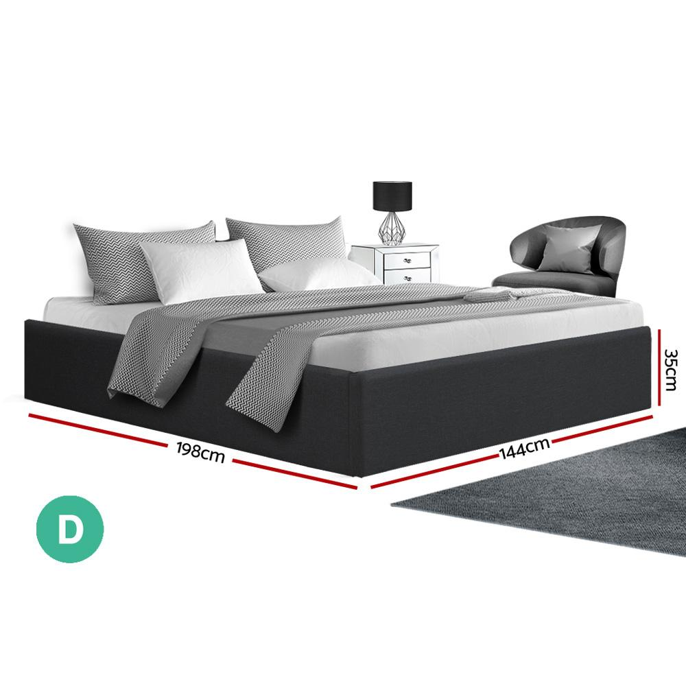Artiss TOKI Double Size Storage Gas Lift Bed Frame without Headboard Fabric Charcoal - Evopia