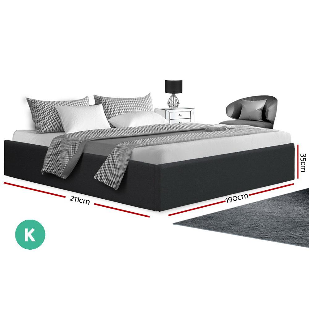 Artiss TOKI King Size Storage Gas Lift Bed Frame without Headboard Fabric Charcoal - Evopia