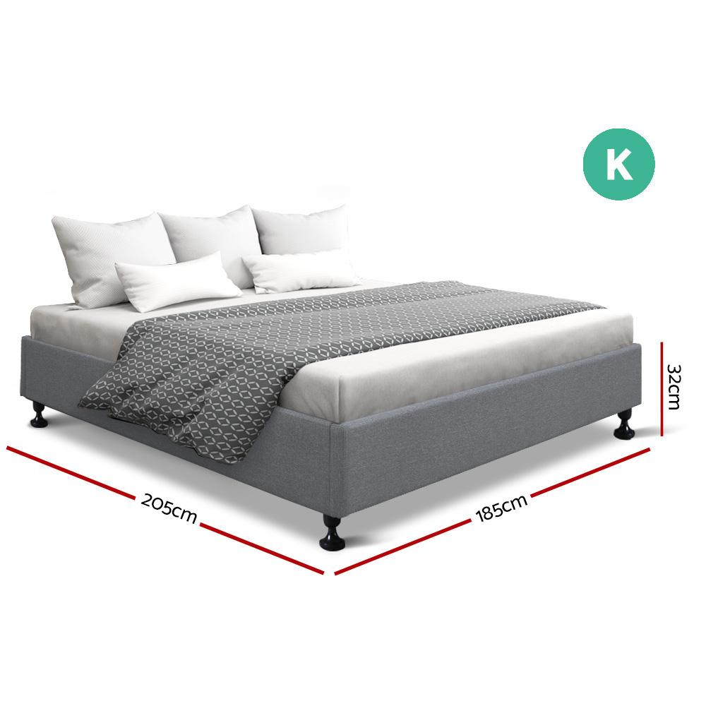 Artiss King Size Bed Base Frame Mattress Platform Fabric Wooden Grey TOMI - Evopia
