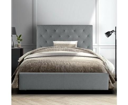Artiss Van Grey Fabric Bed Frame Wooden King Single - Evopia