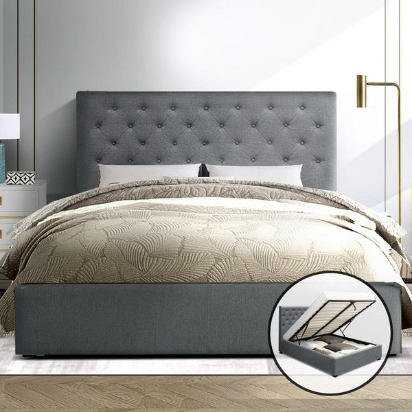 Vila storage bed in grey fabric with elegant upholstery