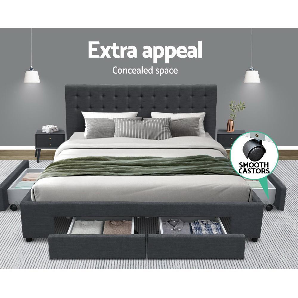 Artiss Avio Bedframe with Storage Drawers - Charcoal - Double -Evopia