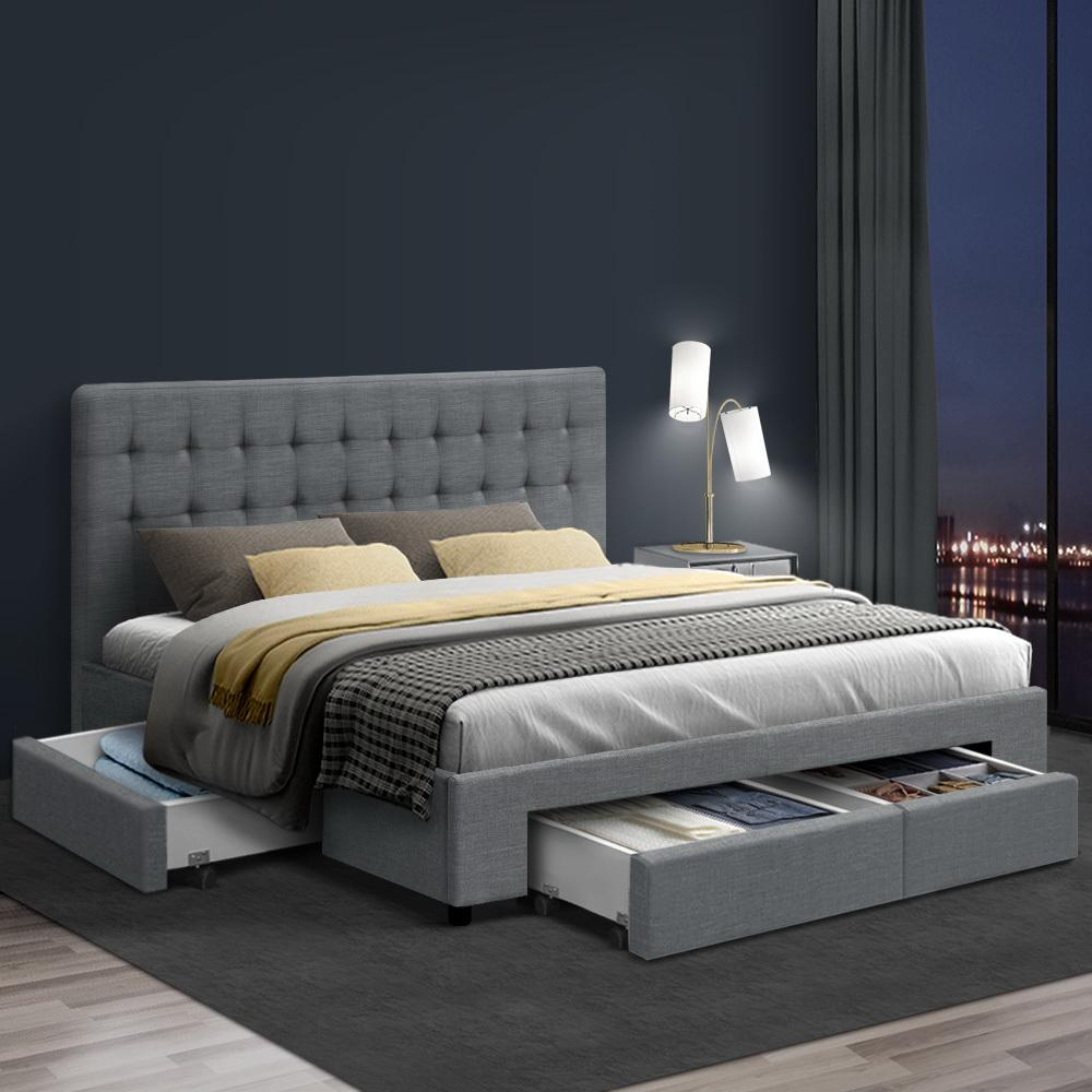 Artiss Avio King Bedframe with Storage Drawers Grey - Evopia