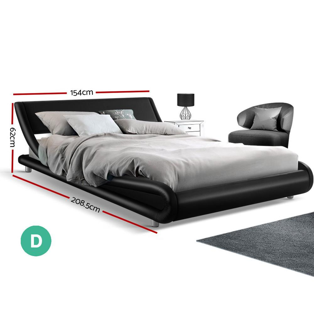 Artiss Double Size Bed Frame Base Mattress Platform Black Leather Wooden FLIO - Evopia