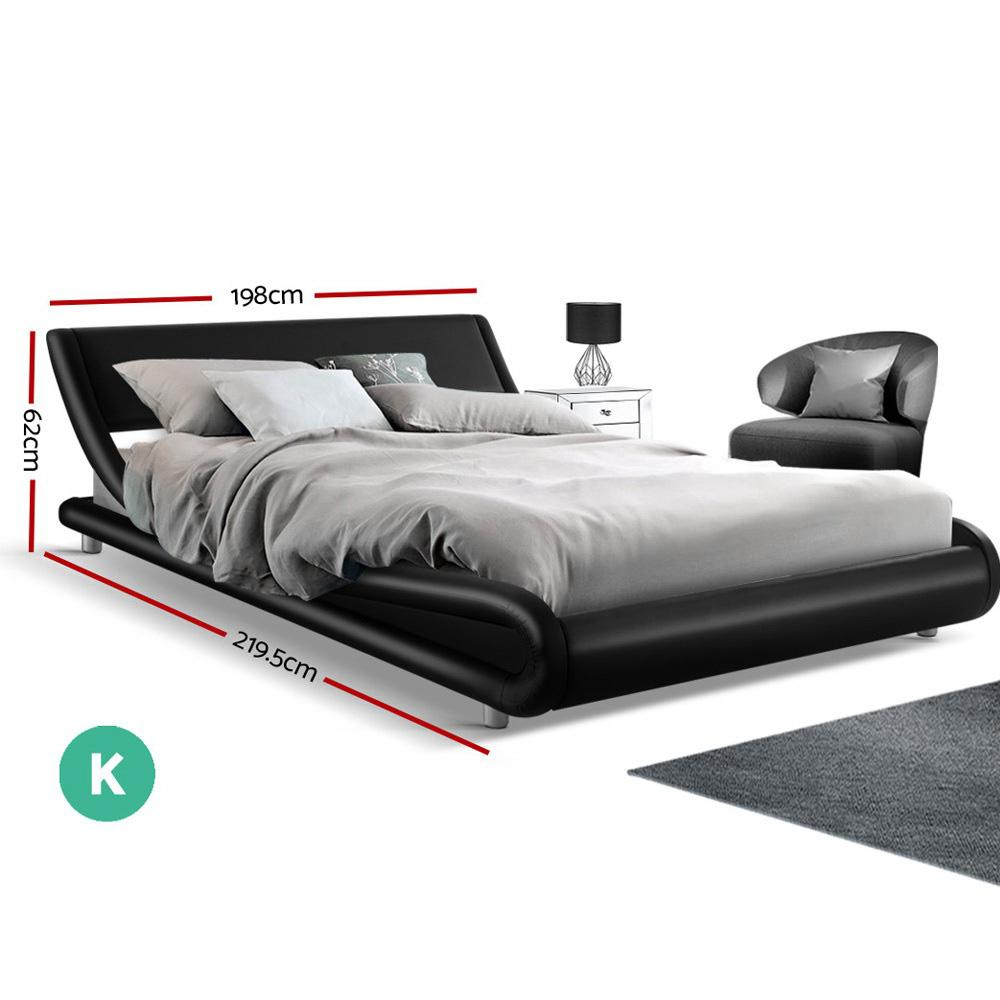 Artiss King Size PU Leather Bed Frame - Black - Evopia