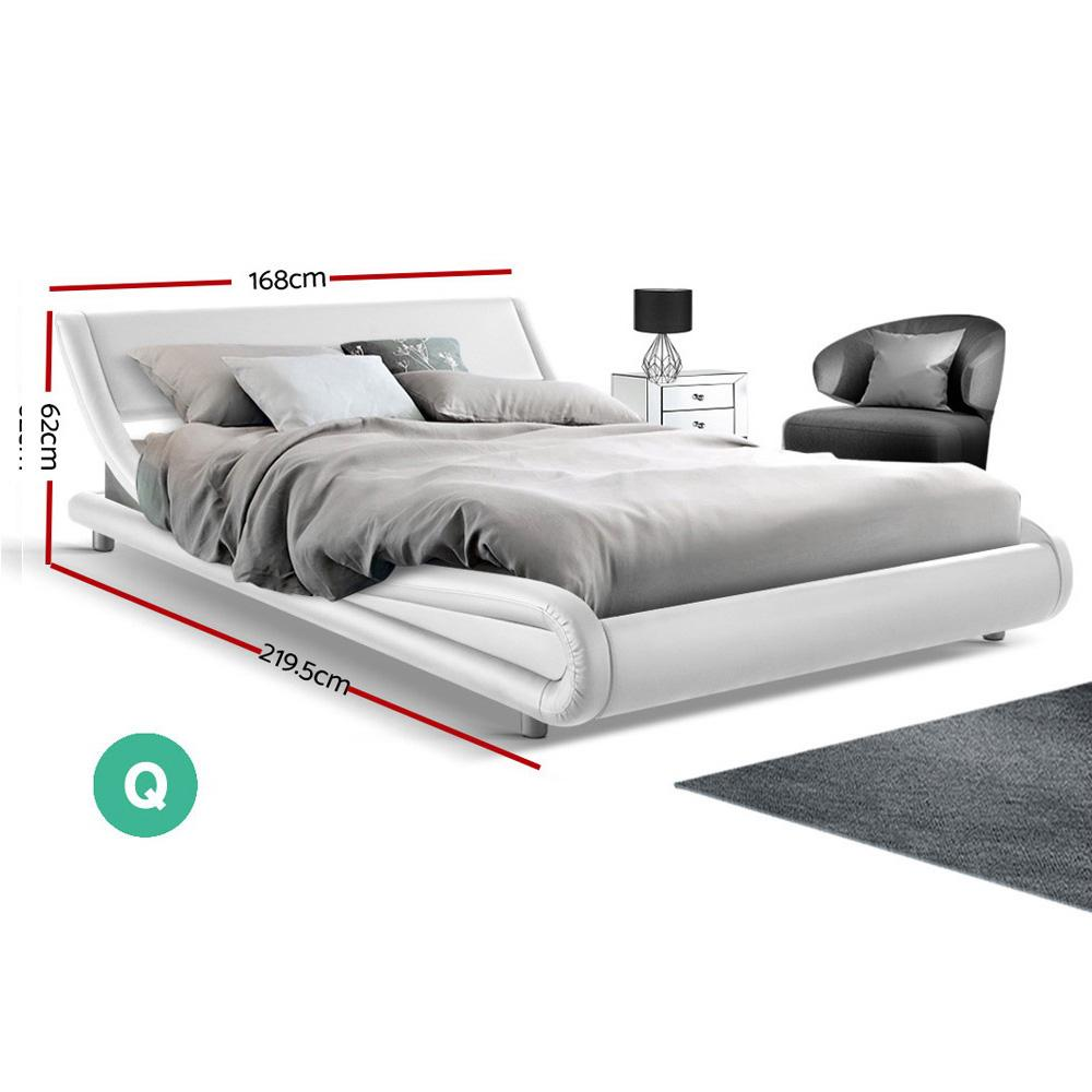 Artiss Queen Size PU Leather Bed Frame - White - Evopia