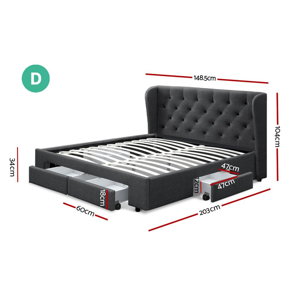 Artiss Mila Double Bed Frame Charcoal with storage drawers - Evopia