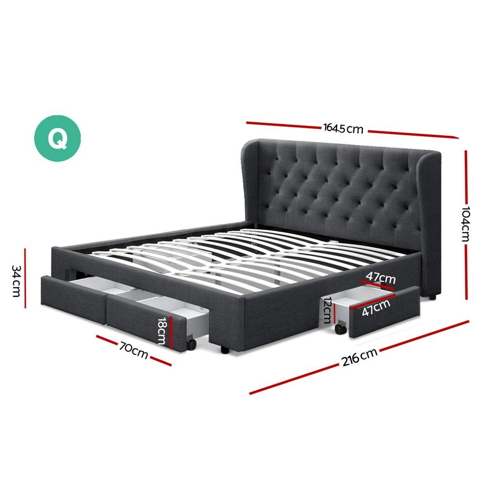 Artiss Mila Queen Bed Frame Charcoal with storage - Evopia