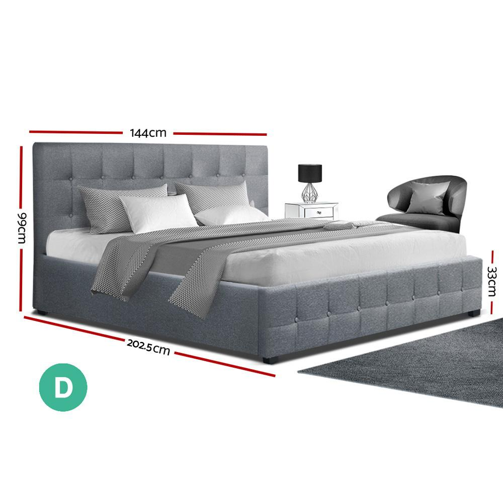 Artiss ROCA Double Full Size Gas Lift Bed Frame Base With Storage Mattress Grey Fabric - Evopia